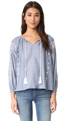 Roberta Roller Rabbit Maxima Embroidered Blouse Chambray