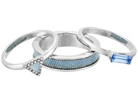 Guess Trio Band Ring Silver Crystal Blue Ring