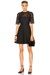Valentino Heavy Lace And Crepe Couture Dress In Black