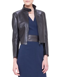 Akris Asymmetric Cut Back Leather Jacket Black