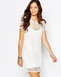 Goldie Outsider Mesh Shift Dress With Slip Cream