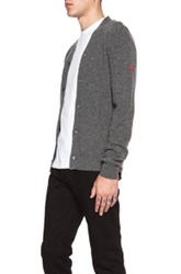 Comme Des Garcons Play Lambswool Cardigan With Small Red Emblem Sleeve Gray