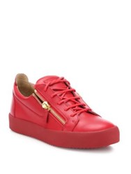 Giuseppe Zanotti Double Zipper And Lace Up Leather Sneakers Fiamma
