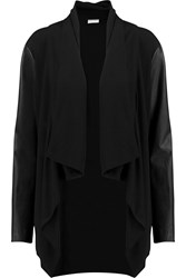 Dkny Leather Paneled Crepe Jacket Black