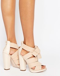 Little Mistress Crossover Block Heel Sandal Nude Beige