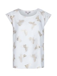 Yumi Capped Sleeve Foil Butterfly Top Cream