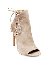 Steve Madden Fabrice Suede Peep Toe Booties Taupe