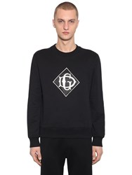 Dolce And Gabbana Crewneck Cotton Sweater W Logo Patch Black