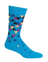 Hot Sox Multi Color Triangles Crew Socks Turquoise
