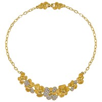 Eclectica Vintage 1980S Monet Gold Plated Glass Crystal Floral Necklace Gold Silver