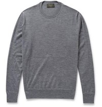 Berluti Leather Trimmed Fine Knit Cashmere And Silk Blend Sweater Gray