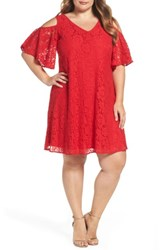 Gabby Skye Plus Size Women's Cold Shoulder Lace Trapeze Dress Venetian Red
