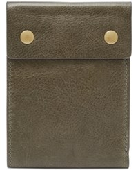 Fossil Men's Ethan Snap Leather Bifold Wallet Green
