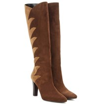 Saint Laurent Suede Knee High Boots Brown