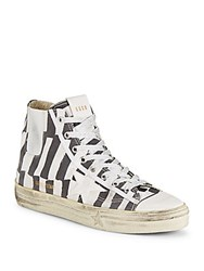 Golden Goose High Top Lace Up Sneakers Black White