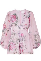 Alice Mccall One By One Floral Print Cotton And Silk Blend Playsuit Lilac