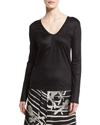 Halston Long Sleeve Scoop Neck Tee Black