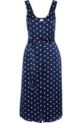 Cami Nyc Woman Freddie Polka Dot Silk Charmeuse Midi Dress Navy
