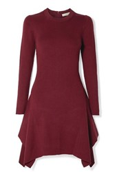 Michael Michael Kors Asymmetric Ribbed Knit Mini Dress Claret