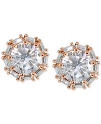 Giani Bernini Cubic Zirconia Baguette Halo Stud Earrings In 18K Rose Gold Plated Sterling Silver Created For Macy's