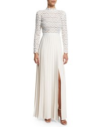 Self Portrait Long Sleeve Lace And Crepe Dress Off White