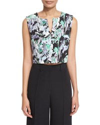 Milly Painterly Floral Print Cropped V Neck Shell Black Multi