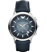 Emporio Armani Ar2473 Stainless Steel Leather Strap Watch Blue
