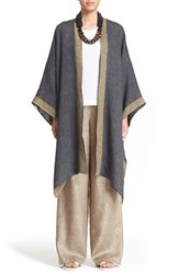 Women's Eskandar Reversible Two Tone Linen Blend Coat