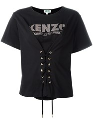 Kenzo Lace Up Front T Shirt Black