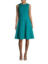 Lk Bennett Bayna Snapped Fit And Flare Dress Teal