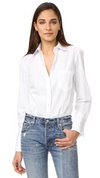 Alix Howard Button Down Bodysuit White