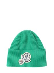 Moncler Wool And Cashmere Beanie W Double Patch Green