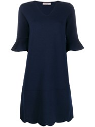 D.Exterior Ruffled Sleeve Midi Dress Blue