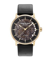 Kenneth Cole Skeleton Dial Leather Strap Watch Black