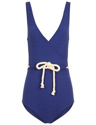 Lisa Marie Fernandez Blue Yasmin Drawstring Swimsuit Navy