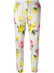 Blumarine Cropped Rose Print Trousers