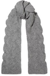 Johnstons Of Elgin Cable Knit Cashmere Scarf Gray