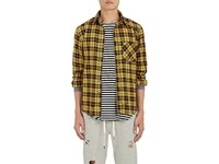Nsf Men's Distressed Plaid Cotton Shirt Yellow Red Black No Color