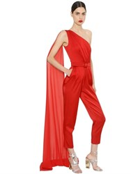 Daniele Carlotta Shiny Cady Jumpsuit With Draped Panel