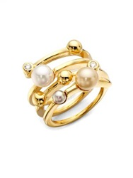 Majorica 4Mm Multicolor Round Pearl Endless Wrap Ring Multi Gold