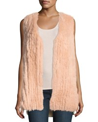 Neiman Marcus Luxury Fox Fur Vest W Sequin Trim Cashmere Back Buff