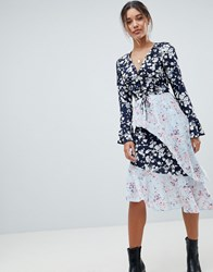 Missguided Mixed Floral Asymmetric Dress Blue