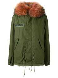 As65 Oversized Collar Parka Women Cotton Leather Rabbit Fur Viscose Xs Green