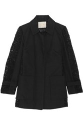 Maje Paneled Guipure Lace And Cotton Twill Coat Black