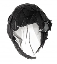 Thom Browne Feather And Tulle Fascinator Black