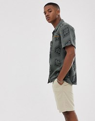 Brooklyn Supply Co. Co Oversized Zip Through Utility Shirt With Print In Khaki Green