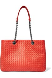 Bottega Veneta Chain Medium Intrecciato Leather Tote Red