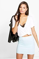 Boohoo Basic Scuba Mini Skirt Mint