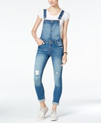 Tinseltown Juniors' Ripped Skinny Overalls Med Wash