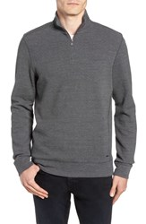 Ted Baker London Slim Fit Quarter Zip Polo Charcoal